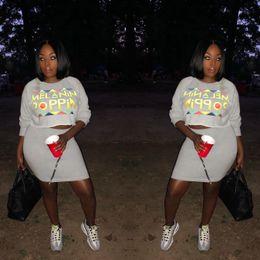 Skirt Suit Plus Australia - Sexy Sweatsuit Plus Size Tops+Skinny Skrit Sweat Suits Two Piece Tracksuit Casual 2 Piece Set Women Solid color letter print zipper skirt