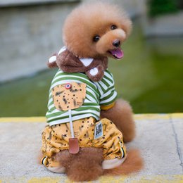 bored hair UK - Poodle Than Bear Pets Keep Warm Cotton-padded Clothes Gogo Clothes Bring Hat Four Padded Leg Pets Clothes & Accessories