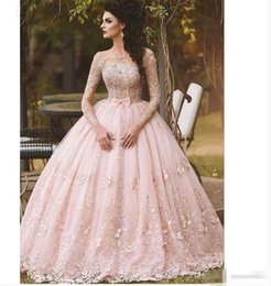 One shOulder quinceanera dresses online shopping - Pink Lace Prom Dresses Ball Gown Appliqued Long Sleeve Bow Sheer Neck Vintage Sweet Girls Debutantes Quinceanera Dress Evening Gown