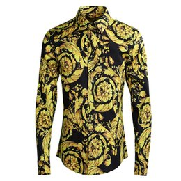 Male Flower Clothes Australia - Classic Royal Golden Yellow Flower Print Shirts Men Long Sleeve Turn-down Collar Shirt Fashion Europe Streetwear Male Clothing