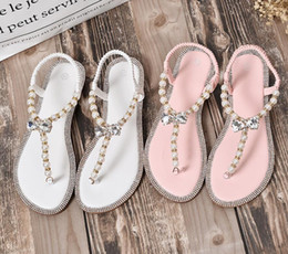 flat pearls white Australia - 2019 summer super hot women fashion white pearl flip-flop sandals with rhinestone-edged flats Summer vacation beach shoes