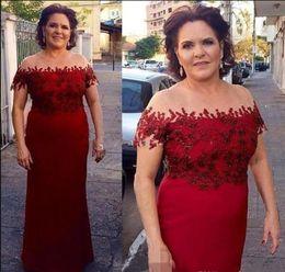 $enCountryForm.capitalKeyWord NZ - Elegant Dark Red Mother of the Bride Dresses Off Shoulder Formal Groom Godmother Evening Wedding Party Guests Gown Plus Size Custom Made