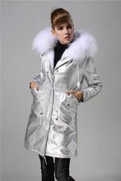 Dog Zipper Australia - New arrival white rabbit fur lining silver long women Cold resistance parkas with white raccoon fur ykk zipper