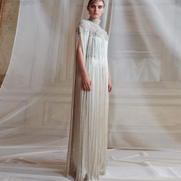$enCountryForm.capitalKeyWord Australia - Ashi Studio Fall Winter 2019 Bridal Hanging Sleeves High Neck Heavily Embellished Bodice Elegant Grecian Column Wedding Dress Sweep Train