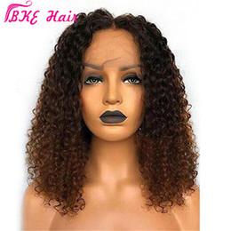 ombre hair brown blue Canada - High quality short ombre brown color kinky Curly Wigs brazilian full Lace Front Wigs Synthetic hair With Baby Hair for black women