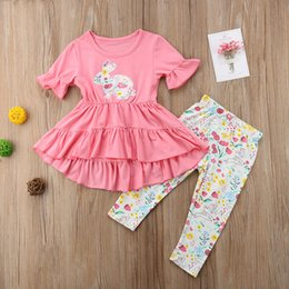 973d2c6ce3fb 2019 new children s clothes sets cartoon rabbit embroidered girls two-piece  wave skirt + trousers baby sets 1-6 years old