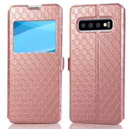 View Window Case Australia - Smart View Window Case Stand Feature Diamond Lattice Card Storage PU+TPU Leather For Huawei Samsung alaxy s7 s6 edge plus For Iphone XS XR