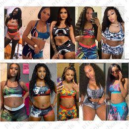 Wholesale Women Brand Designer Swimsuit 2Piece Bikini Set Vest Tank Top Bra and Shorts Swimming Suit Luxury Shark Swimwear Brand Beachwear E42401