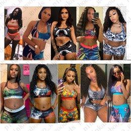 venda por atacado Mulheres Swimsuit 2piece Bikini Set Vest alças do sutiã e Shorts Natação Terno tubarão Swimwear Beachwear E42401