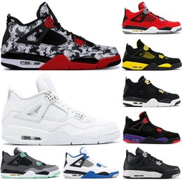 6dafebdba479 4 Men Basketball Shoes Sneakers Thunder Tattoo Fire Red Oreo White Cement  Pure Money Bred Royalty Game Royal 4S Sports Shoes 8-13