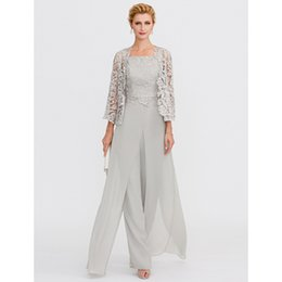$enCountryForm.capitalKeyWord Australia - Mother Of The Bride Dresses 2019 Pantsuit Front Split Straps Floor Length Silver Gray Chiffon Corded Lace 3 Pieces Outfits Kurti Y19072901
