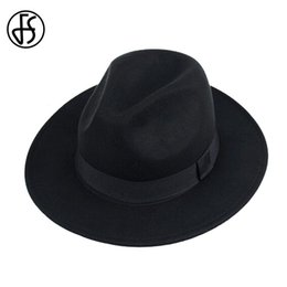 FS Unisex Black Trilby Hats For Men Godfather Vintage Wide Brim Felt  Fedoras Hats Winter Man Jazz Caps Gorros Bowler Caps Women D19011102 673f88c3d598