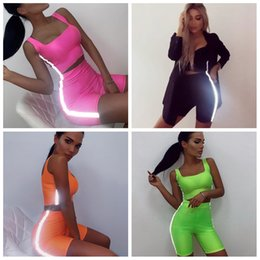 Wholesale sexy suits t resale online – Women Reflective Stripe Outfits sport suit T shirt Set Tracksuit Tank Crop Top Tight Short Slim Sexy jogging Sportswear AAA2109