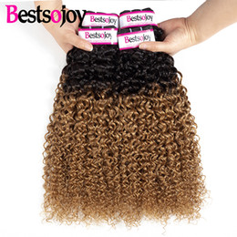$enCountryForm.capitalKeyWord Australia - Bestsojoy 4 Pcs Ombre Brazilian Kinky Curly Hair Bundles Virgin 2 Tone Human Hair Bundles Deals Color 1B 27 Kinky Curly Hair