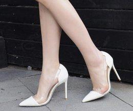 Ingrosso Donne Pompe 2019 Trasparente 8 10 12 cm Tacchi Alti Sexy scarpe a punta Slip-on Scarpe da sposa per Lady Size 35-42 Leopard hanno logo