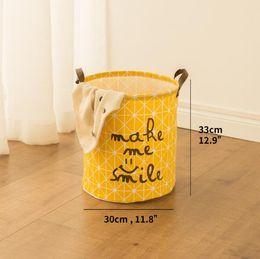 $enCountryForm.capitalKeyWord Canada - Laundry Basket Toy Storage Picnic Basket Box Cotton Washing Clothes Box Baby Orgnizer Bin Make me smile small size
