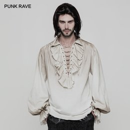 dbc15966 PUNK RAVE Black White Colours Steampunk Men's Loose Long Sleeve Shirt  Gothic vintage victorian Fashion Men Top clothing
