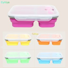 $enCountryForm.capitalKeyWord Australia - Silicone Collapsible Portable Lunch Boxes Bowl Bento Boxes Folding Food Storage Container Lunchbox Eco-Friendly 600m l+350ml +350ml