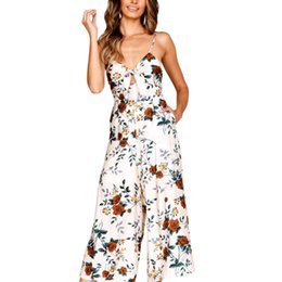 Plus Size V Neck Jumpsuit Australia - Womail Womens V-Neck Camisole Backless Bow Floral Print Long Playsuit Ladies Jumpsuit plus size sexy playsuit C300128