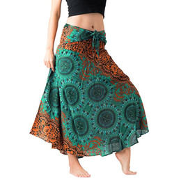 China Women Summer sexy skirts casual Long Hippie Bohemian Gypsy Boho Flowers Elastic Floral Hlater Skirt #190128 cheap sexy woman gypsy suppliers