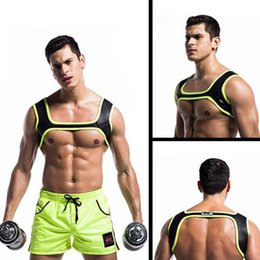 harness belt men 2020 - Man Top Sports Shoulder Strap Sports Belts Neoprene Muscle Chest Harness Exercises Fashion cheap harness belt men