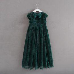 $enCountryForm.capitalKeyWord Australia - Vintage Princess Girl Lace Long Dress Big Bow Design Backless Baby Kids Wedding Vestido Toddler Girls Xmas Clothes 2-7yrs J190506
