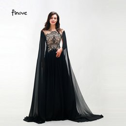 T Shirts Style Australia - Finove New Style Long Evening Dress 2019 Woman Chic Evening Gown Beading Full Sleeved Floor Length Formal Clothing Plus Size