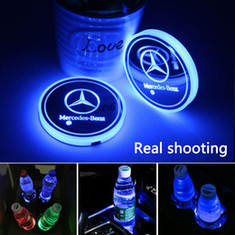 $enCountryForm.capitalKeyWord Australia - 2pcs LED Car Cup Holder Lights for Mercedes-Benz, 7 Colors Changing USB Charging Mat Luminescent Cup Pad, LED Interior Atmosphere Lamp