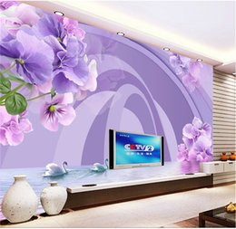 Space beautiful online shopping - Custom Photo Wallpaper d Beautiful Dreamy Swan Lake Flower Space Living Room TV Background Bound Wall Painting Wallpaper