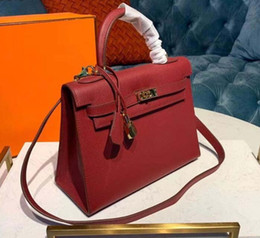 green handbags Australia - New Luxury Designer Leather Lock kelly Hand Bags Leather Women Handbags Ladies Shoulder Bags Original leather Classic Women Messenger qq10