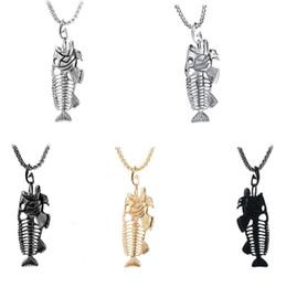 Bone Rhinestone Pendant Australia - Fashion Fish Bone & Fishing Hook Pendant Necklaces Punk Style Hollow Fish Skeleton Bone Necklace Men Link Chain 4 Colors Personality Jewelry