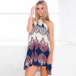 3f43358c1040 Women Strappy Dress Bohemian Sleeveless Loose Straight Printing Ladies Mini  Dresses Summer Sundress Vacation Clothes Vestidos