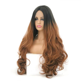 $enCountryForm.capitalKeyWord Australia - 24inch High Quality Wigs 1B Black&Blond Long Curly Body Wavy Lace Front Wigs Heat Resistant Synthetic Lace Front Wigs for Black Women