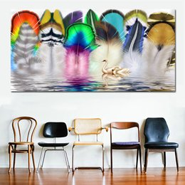 Art Canvas Prints Australia - 1 Piece Colorful Feather and Swans Wall Art Painting Big Size Canvas Painting for Living Room Home Decor Abstract Art Canvas Print