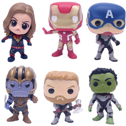 Figures Australia - FUNKO POP 6 pieces  lot Avengers Endgame Super Hero PVC Action Figures Toys 10 cm Anime Figures Model Toys For Kids SS260