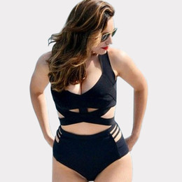9543dd51a2a Plus Size Black Bikinis Vintage High Waist Swimwear Swimsuit Women Ladies  Push-Up Bandage Bikini Set Brazilian Swimsuit Bathing Suit CCF0240