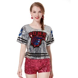 gold sequins tops Australia - Women Glitter High Street Short Sequin T-Shirt Casual Female Night Out Graphic Club Party Shirt Crop Top Body Camisa
