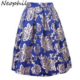 3008b3dc3 Neophil 2019 Retro Ladies Floral Embroidered Women Skirts Midi Pleated High  Waist Flare Ball Gown Skater Saia Jupe Femme S1711 Y19043002