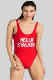 cde05e642f5 HELLO STALKER CAMPAIGN Funny Letter Swimwear One Piece Bodysuit Women Sexy  Low Back Jumpsuit Swim Suits 2018 Summer Sexy ywxk