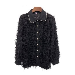 Girls Tassel Shirt Australia - 2019 Spring Fashion Long Sleeve White Tassels Shirts Women Girl Hollow Out Lace Shirts Lady Bead Work Baby Neck Fringe Tops