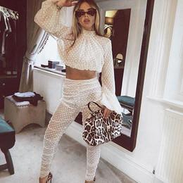 $enCountryForm.capitalKeyWord NZ - Women Polka Dots Sheer Mesh Two Piece Sets Sexy See-through Lantern Sleeve Crop Top + High Waisted Pencil Pants Clubwear Outfits MX190810