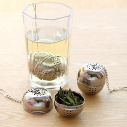 hook steel rope UK - New Stainless Steel Ball Tea Infuser Sphere Filter Tea Strainer Loose Tea Leaf Spice Ball With Rope Chain Hook Home Kitchen Tools DBC DH2560