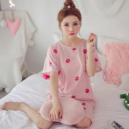 Discount cute summer pajamas - 2019 Women Pajamas Set Summer New Thin Strawberry Short Sleeve Cute Sleepwear Casual Homewear Female Pyjamas