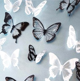 crystal butterfly wall NZ - 18pcs lot 3D Effect Crystal Butterflies Wall Stickers Beautiful Butterfly For Kids Room Wall Decals Home Decoration On the Wall