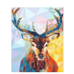 Discount christmas canvas art - Crystal porcelain deer Animal DIY Digital Painting By Numbers Modern Wall Art Canvas Painting Christmas Gift Home Decor