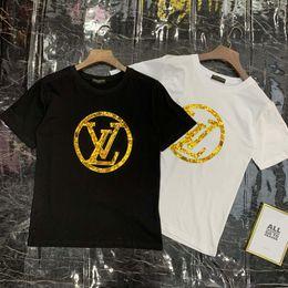 $enCountryForm.capitalKeyWord Australia - Wholesale Fashion Designer Men Women T-shirts Luxury Letter Sequins Tops Shirt Men Women's Brand Casual Short Sleeve T Shirts Tide Tees