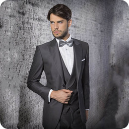 men wedding suits styles Australia - Latest Design Grey Groom Suit for Wedding Tuxedos Italy Style Groomsmen Oufits Costume Homme Best Man Attire Slim Fit Terno Masculino 3Piece