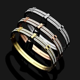 Rose Plated Bracelets Australia - 2019 Fashion Clsssic Jewelry 3 Styles Bangle For Women Lock Black Bangle Silver Rose Gold plated 316L Stainless Steel V Love Bracelets