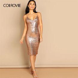0e4c9aa80ac COLROVIE Pink Solid Spaghetti Strap Corset Sequin Cami Party Dress Women  2019 Sleeveless Sheath Sexy Vestidos Club Midi Dress