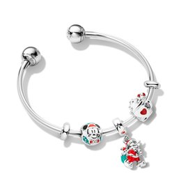 full circle silver bangles 2020 - valentine gifts sale Pandora magic christmas charm open bangle bracelets 925 sterling silver jewellery full package gift